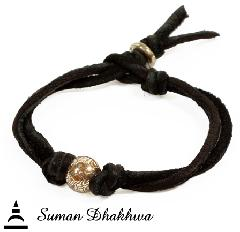 Suman Dhakhwa SD-B70 MOKUME Ball Leather Bracelet