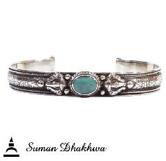 "Suman Dhakhwa SD-B59 "" Valhalla Collection "" Leaf Carving Cuff w/ Turquoise"