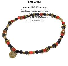 amp japan  13ahk-193 red agate & onyx anklet