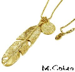 M.Cohen N503-G Gold Feather & Coin Necklace
