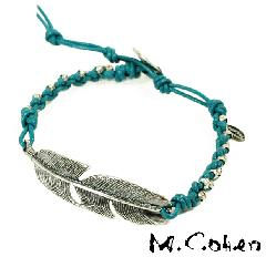 M.Cohen B605/Turquoise Feather & Leather Bracelet