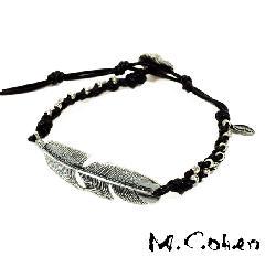 M.Cohen B605/Black Feather & Leather Bracelet