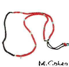 M.Cohen  N866/Red  Antique Beeds & Leater Necklace