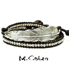 M.Cohen B916-S/Black Silver Feather & Leather Bracelet