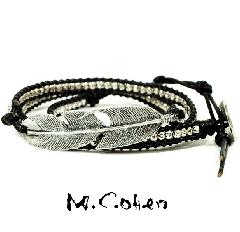M.Cohen B515/Black Silver Feather & Leather Bracelet