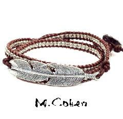 M.Cohen B515/Brown Silver Feather & Leather Bracelet