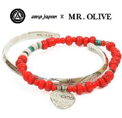 amp japan x Mr.Olive M-3425/RED White Hearts & Bangle