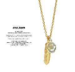 amp japan 14ah-146 small feather & smile necklace