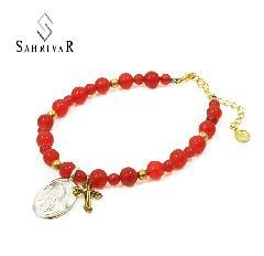 SAHRIVAR SB11S13S Notre Dame Red Agate Bracelet
