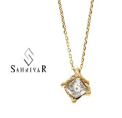 SAHRIVAR sn58s14s/CLEAR Square Stone Necklace