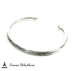"Suman Dhakhwa SD-B58 "" Valhalla Collection "" Square Leaf Carving Cuff"