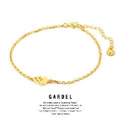 GARDEL gda002D Teardrop skull Anklet Gold