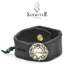 SAHRIVAR x BURNOUT SP-B001W DOG TAG LEATHER BANGLE