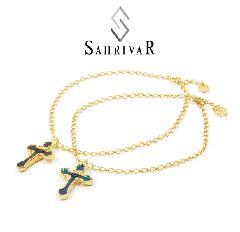 SAHRIVAR SX03B15S Enameled Cross Anklet