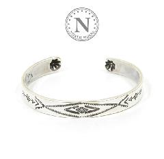 NORTH WORKS W-009 Stamped 900Silver Cuff Bracelet