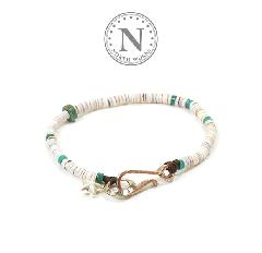 NORTH WORKS D-618 Shell & TQ Heishi Bracelet