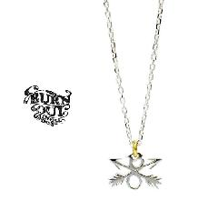 BURNOUT E54S08BF CROSSED ARROWS CHARM NECKLACE SILVER