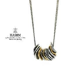 HARIM HRP116SVBR Distorted Disk Chain Necklace COMBI