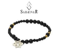 SAHRIVAR SB62S17S Silver Hexagram  Bracelet/Onyx