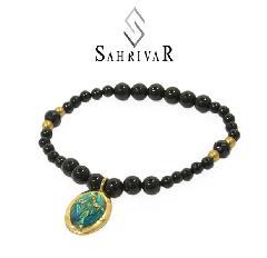 SAHRIVAR SB55B17S Brass Maria Beads Enameled Bracelet/Onyx