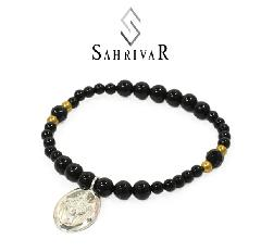 SAHRIVAR SB58S17S Silver Maria Beads Bracelet/Onyx