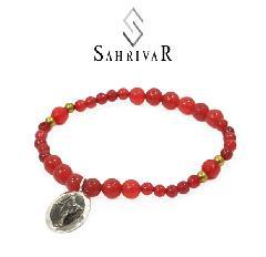 SAHRIVAR SB60S17S Silver Maria Beads Bracelet/Red Agate
