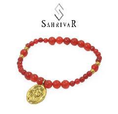 SAHRIVAR SB61B17S Brass Maria Beads Bracelet/Red Agate