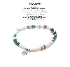 amp japan 17AHK-410 Round White Bone Bracelet -Turquoise-