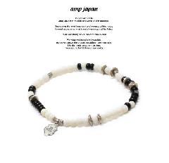 amp japan 17AHK-411 Round White Bone Bracelet -onyx-