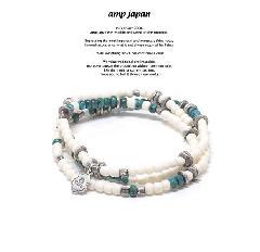 amp japan 17AHK-414 Round White Bone -Turquoise-
