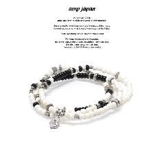 amp japan 17AHK-415 Round White Bone Bracelet -onyx-