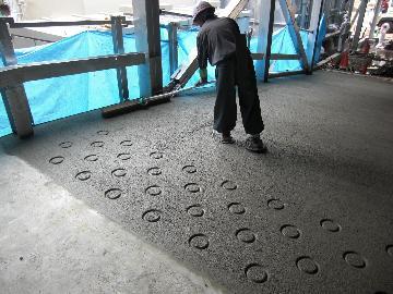 駐車場スロープ部分の施工