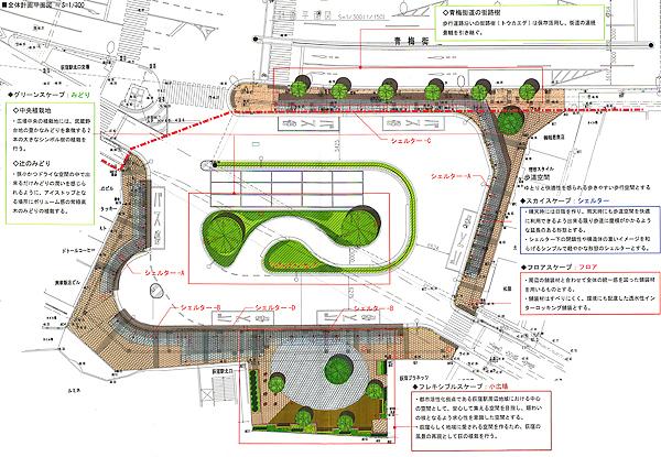 JR荻窪駅北口駅前広場修景設計計画 –平面図-