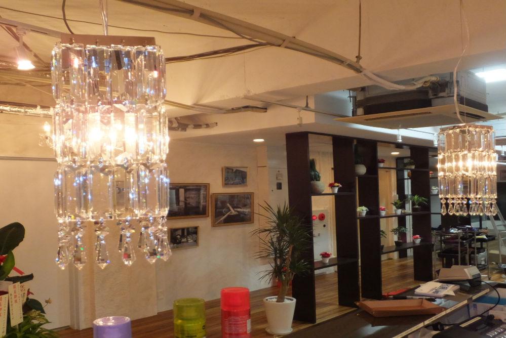 オシャレ 照明 可愛い シャンデリア 美容室