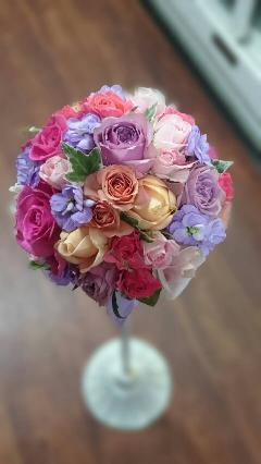 ピンク紫薔薇のブーケ