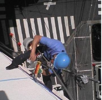 高所のコーキング補修工事