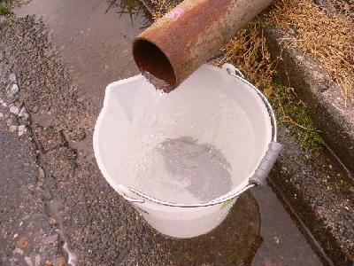 工場給水配管洗浄後