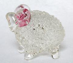 ガラス干支 『未』(ひつじ)ピンク
