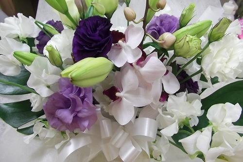 紫トルコのお供えアレンジメント
