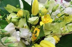 春の黄色ベースのアレンジメント