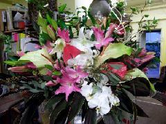 アンスリュームを使ったスタンド花