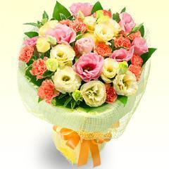 トルコキキョウの花キューピットブーケМ−511058