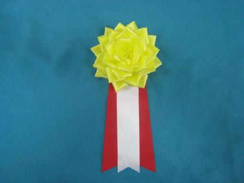 胸につける花リボンバラ・記章・徽章(大・花径12cm)黄色