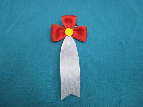胸につける花・立ヒナ章・記章・徽章(花幅5.5cm)赤/選挙・講演会等で胸につける花