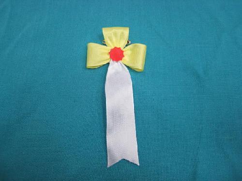 胸につける花・立ヒナ章・記章・徽章(花幅5.5cm)黄/選挙・講演会等で胸につける花