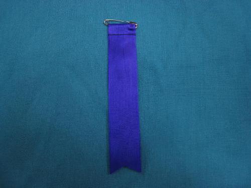 胸につける目印リボンタレ章(小)記章・徽章(全長13cm)紫/選挙・講演会等で胸につけるリボン