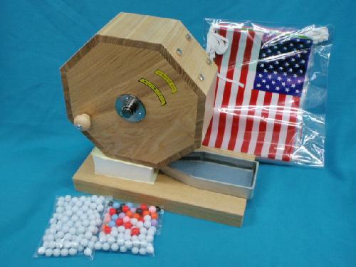 お得セット)ガラポン木製抽選器(500球用)+抽せん球(200球)+ミニ万国旗