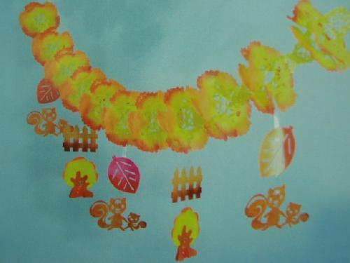 秋飾り(垣根リスガーランドW45×L180cm) 3020