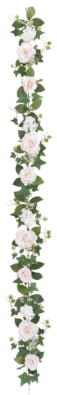 屋内用造花バラガーランド(ファインローズ・ピンク・全長180cm/花径3.5〜11cm)FLG−3017