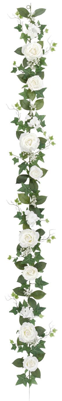 屋内用造花バラガーランド(ファインローズ・ホワイト・全長180cm/花径3.5〜11cm)FLG−3017